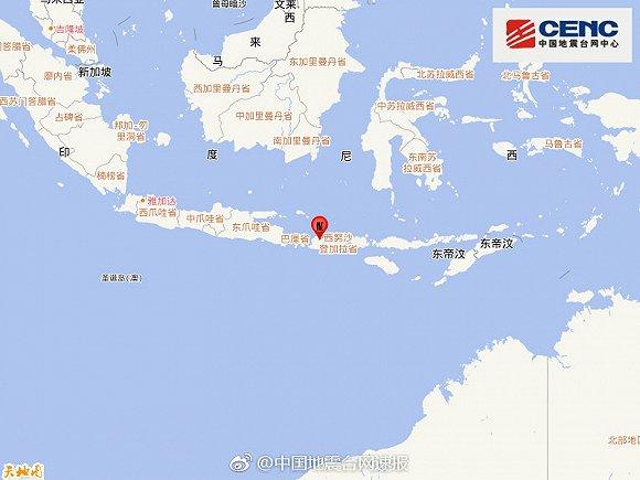 印尼松巴哇島發生5.5級地震,震源深度20千米